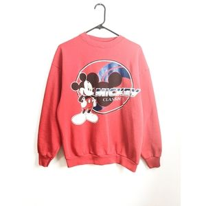 Vintage 90s Red Mickey Mouse Crew Neck Sweater